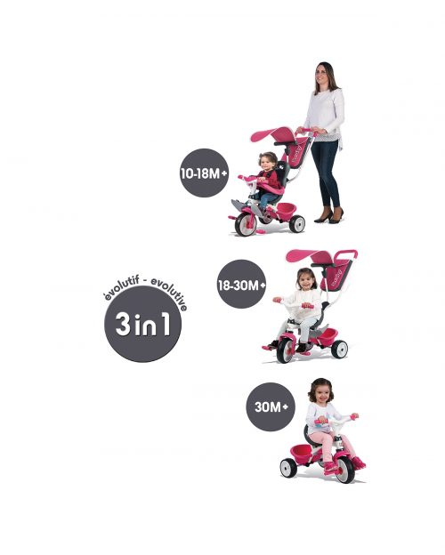 Tricycle 3 en 1 BABY BALADE ROSE