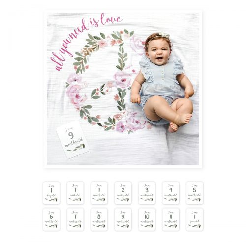"Lange en coton & cartes naissance ""All you need is love"" idée de cadeau bébé originale"