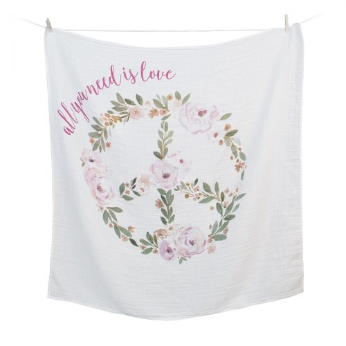 "Lange en coton & cartes naissance ""All you need is love"""